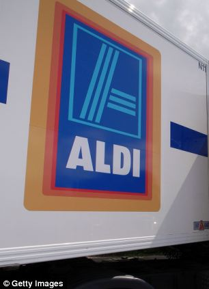 An Aldi lorry a delivers goods in Northwich, Cheshire, England.