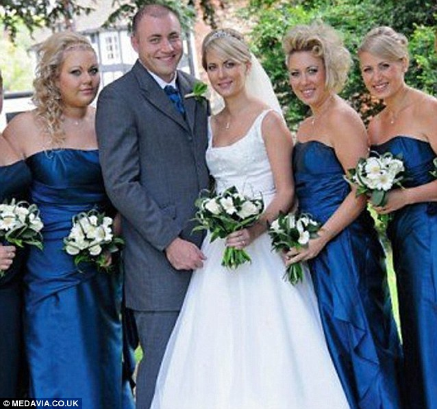 From left to right: Holly, Aimee's husband Keith, Aimee, Katie and Lucy on Aimee's wedding day