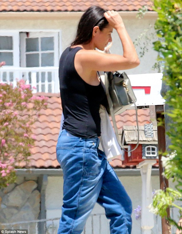 Dressed down: Actress Demi Moore cut a casual figure as she headed out in California on Sunday to celebrate her daughter Scout Willis' 23rd birthday