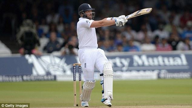 Falling short: Matt Prior was the first batsman to succumb to the short ball when he was caught by Murali Vijay