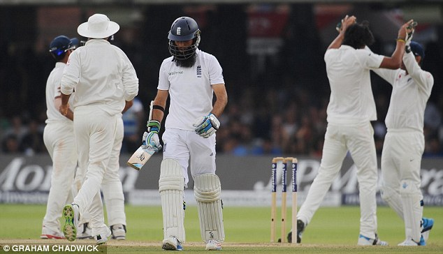 The long walk: Ali trudges off after being dismissed by Sharma with the last ball before lunch