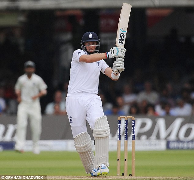 Giving it short shrift: Root pulls the ball to the boundary before England's collapse