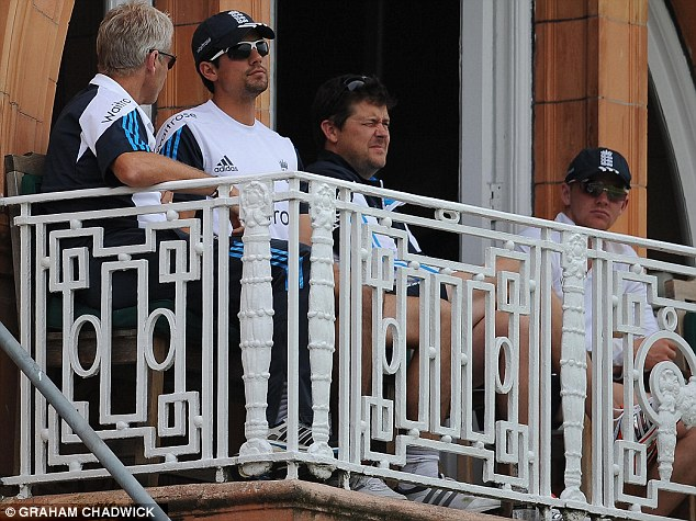 Time to go? The under-pressure Alastair Cook (second left) looking pensive on the Lord's balcony