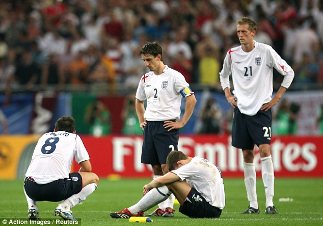 Heartache: The midfielder was one of England's penalty villains as they crashed out of the 2006 World Cup