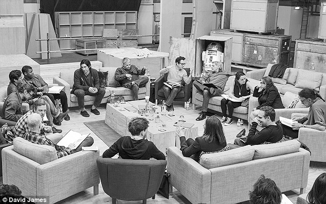 Script read through: In April (clockwise from right) Ford, Daisy Ridley, Fisher, Peter Mayhew, Producer Bryan Burk, Lucasfilm's Kathleen Kennedy, Domhnall Gleeson, Anthony Daniels, Hamill, Andy Serkis, Oscar Isaac, John Boyega, Adam Driver and Writer Lawrence Kasdan gathered in London