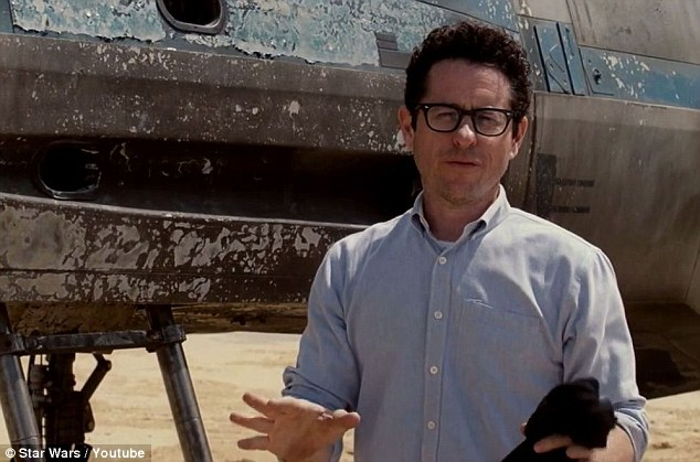 What a tease: As the director spoke, the camera panned back, revealing more and more of the X-Wing Starfighter