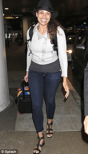 Does she know?: Jordin Sparks touched down in LA on Friday