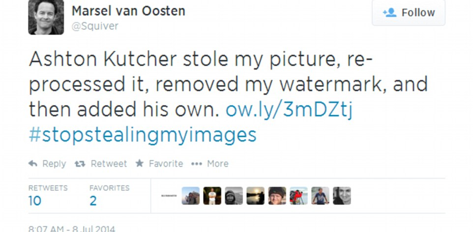 Mr van Oosten took to Twitter after realising the actor had used his picture, removed his watermark and added his own