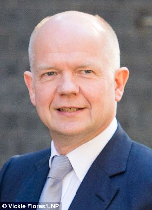 William Hague arrives at Downing Street in London on July 16, 2014