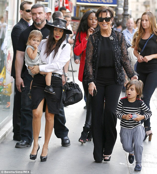 Lucky kids! Kris revealed she makes a 'mean' grilled cheese sandwich for grandchildren Penelope and Mason, pictured in May in Paris