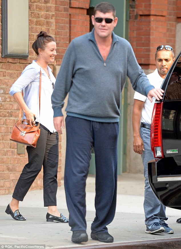 Dressing down: He's worth billions but James Packer shed the expensive suits on Monday and opted instead for comfort over fashion while out in NYC