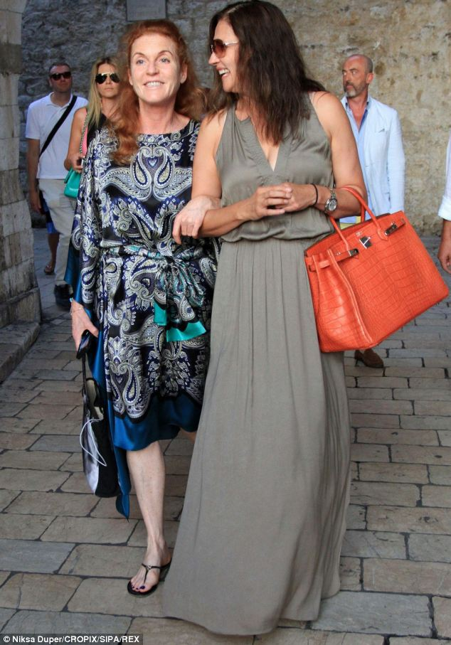 Gal pals: Sarah, Duchess of York, strolled arm-in-arm with Slavica Ecclestone in Dubrovnik