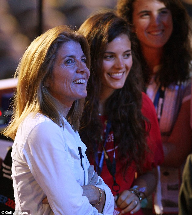 Famous family: Caroline Kennedy is seen with daughters Rose Schlossberg, center, and Tatiana Schlossberg, right, in this 2008 file photo