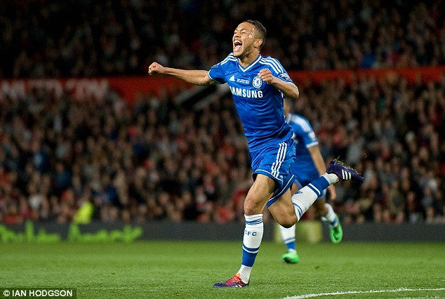 Moments of magic: Lewis Baker celebrates scoring for Chelsea in the Under 21 final at Manchester United