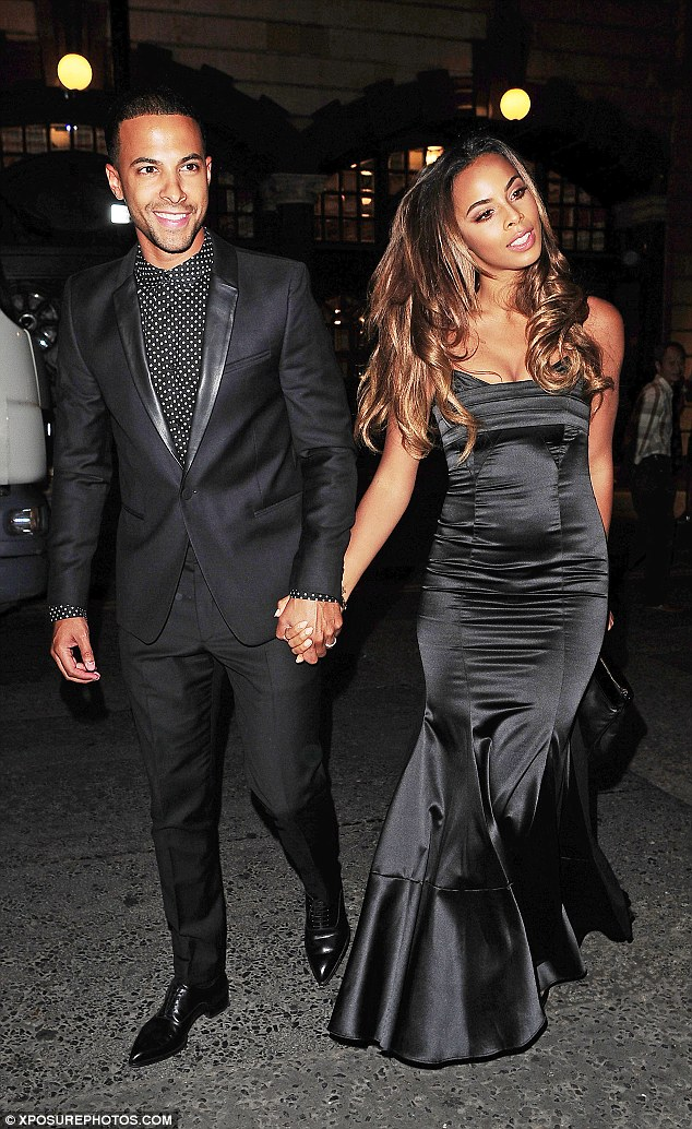 Hot to trot: Rochelle Humes was a vision in all black as she stepped out with husband Marvin Humes for Cheryl Fernandez-Versini's wedding party at The Library in London