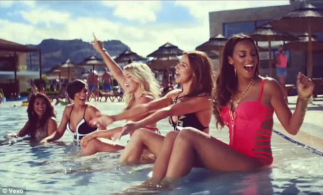 Summer ready: Rochelle and her fellow band mates Mollie King, Vanessa White, Frankie Sandford and Una Healy show off their bikini bodies in the pool on new video What Are You Waiting For?