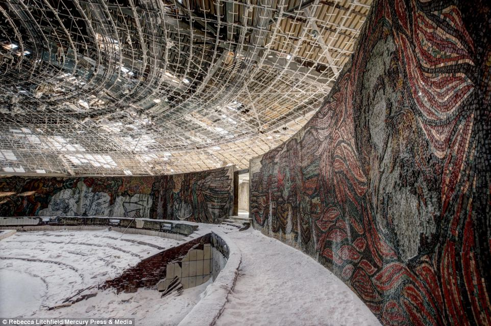 Ms Litchfield said: 'Not many explorers travel to Russia, where the rules are very different, locations are heavily guarded and a strong military presence exists everywhere'. Pictured is the Buzludzha in Bulgaria