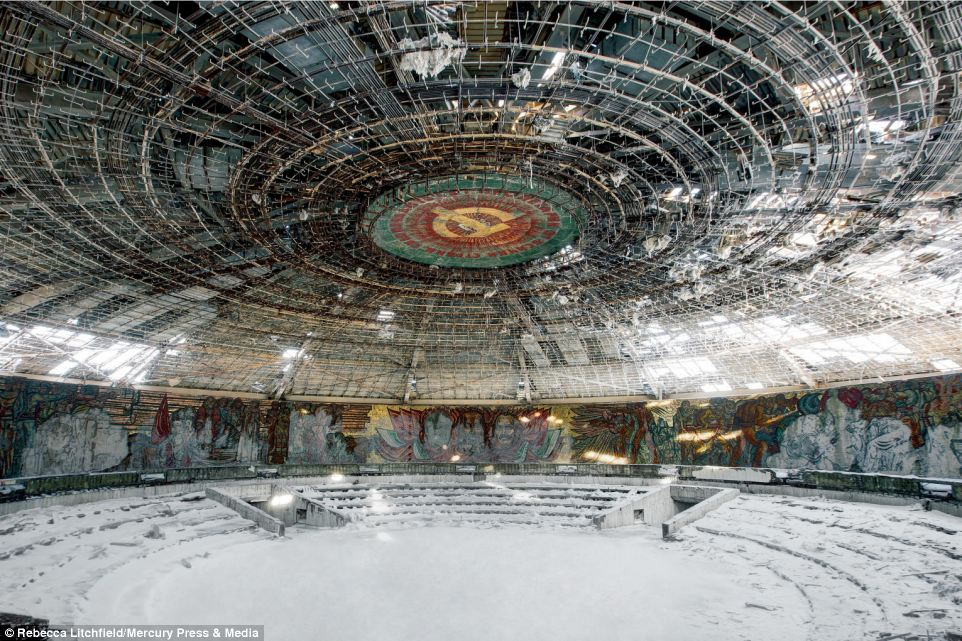 Photographer Rebecca Litchfield travelled to nine countries that were part of the Soviet Union or accepted as satellite states for her book 'Soviet Ghosts'. This picture was taken at Buzludzha, in Bulgaria