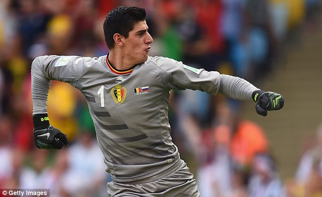 Jumping for joy: Belgian star Thibaut Courtois is likely to finally be between the posts for Chelsea this season