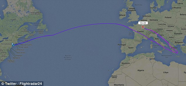 Delta Flight 468 from New York to Tel Aviv carrying 290 passengers and crew was rerouted to Paris yesterday
