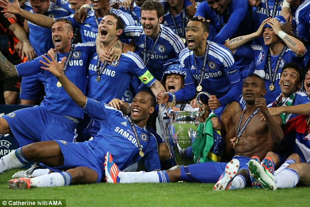 Serial winner: Lampard won three Peemier League titles, four FA cups, two League Cups, a Europa League and the Champions League (above) with the Blues