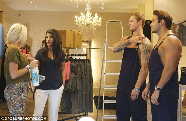Business savvy: Meanwhile Danielle Armstrong was also keeping busy as she was seen setting up her new boutique, Danni, with the help of her boyfriend, James Locke as well as her close friends, Jasmin Walia and Dan Osborne