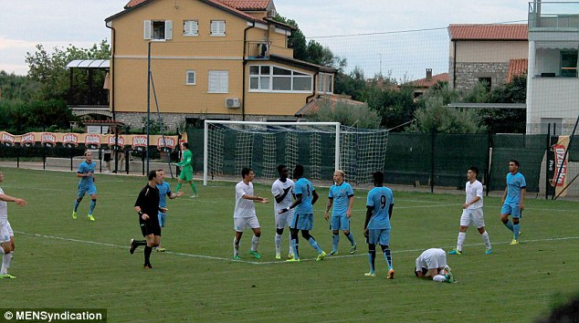 Flashpoint: Fofana (No 8) kicked out at a NHK Rijeka player after being allegedly racially abused