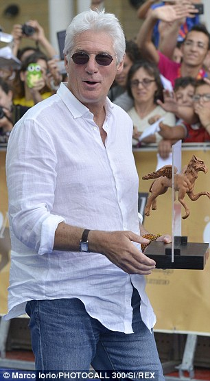 Award winner: Gere was on hand on collect a special prize for his services to acting