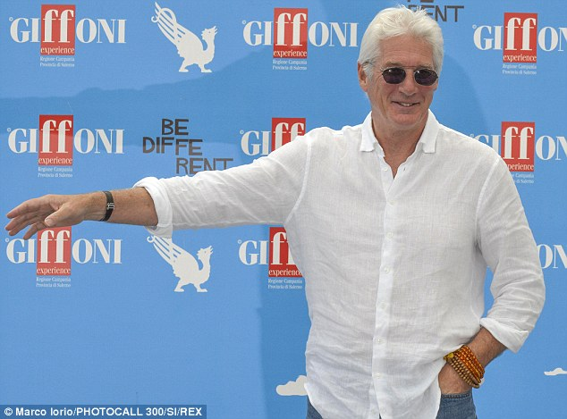 This way please: The 64-year-old actor was in high spirits after arriving at the Cittadella del Cinema in Giffoni Valle Piana, Italy