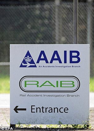 A sign showing the direction to the entrance of the Air Accident Investigation Branch