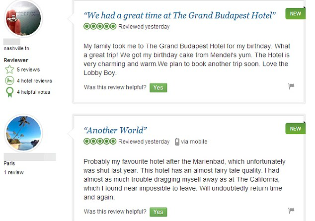 Reviewers are having fun pretending that they have stayed at Wes Anderson's fictional hotel