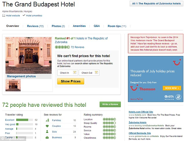 So far the fictional hotel has garnered 72 reviews and the number grows apace