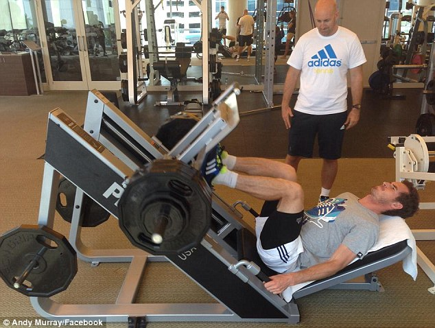 Push: Andy Murray works out in Miami as he looks to bounce back from his disappointing Wimbledon defence
