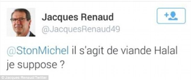 Mr Renaud's response to the tweet, which has been deleted from his account, but has been re-tweeted by several Twitter users