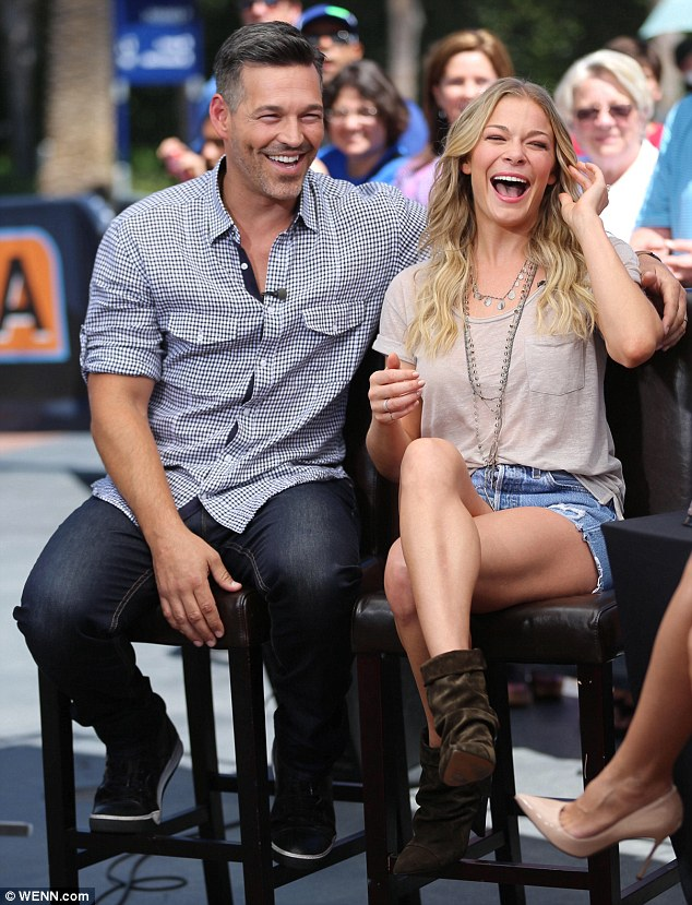 Promotional trail: The country music singer, 31, and her 41-year-old actor husband were on site to chat about their new VH1 reality series which showcases their private lives