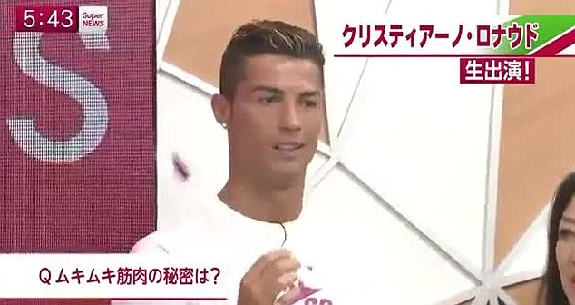Shocked: Cristiano Ronaldo was left looking shocked at the antics of the local TV presenter