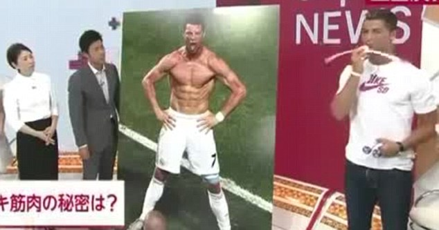 Tricks of the trade: Cristiano Ronaldo (right) demonstrates some fitness gear on Japanese TV