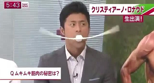 Mouthy: The Japanese TV presenter demonstrates how the product works in frantic style