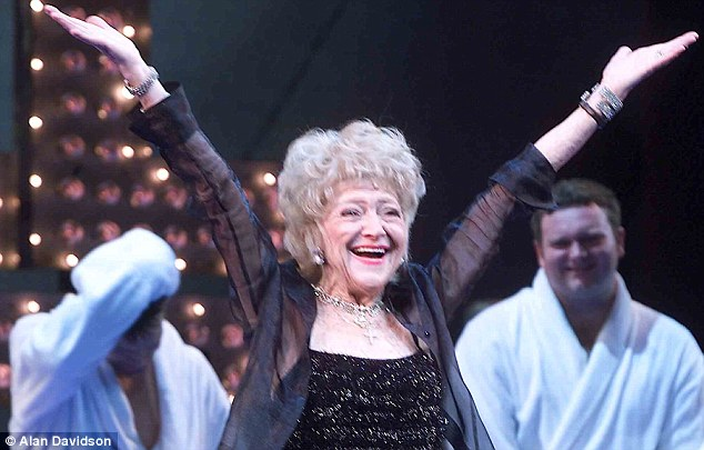 Dora at the curtain call for the musical, The Full Monty, at the Prince of Wales Theatre