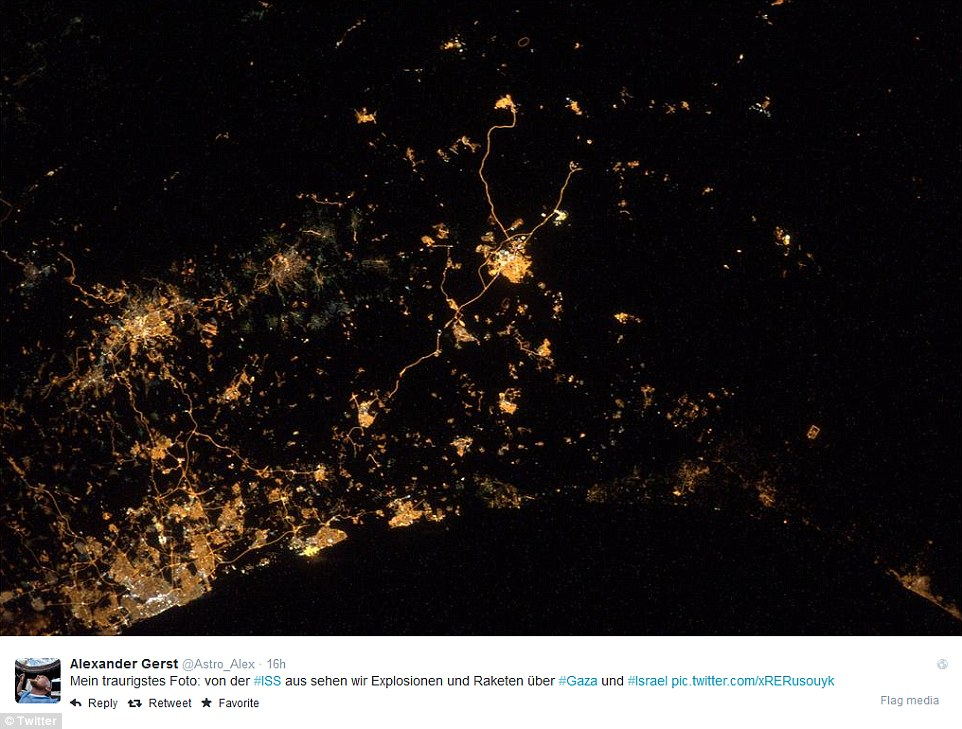 In this image, Hebron is seen in the centre as the main sprawl of lights, while Tel Aviv is on the bottom left by the coast and Gaza on the bottom right. Alexander Gerst¿s photo appeared just as the UN warned that Israel may have committed war crimes in its attack against Hamas in Gaza. ¿There seems to be a strong possibility that international law has been violated, in a manner that could amount to war crimes,¿ said Navi Pillay, the UN high commissioner for human rights