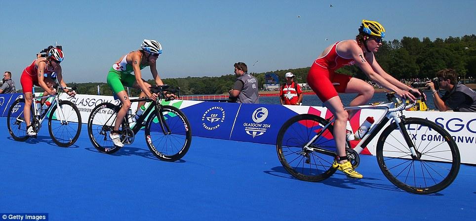 Next step: The athletes take to the bike to begin a tough stint