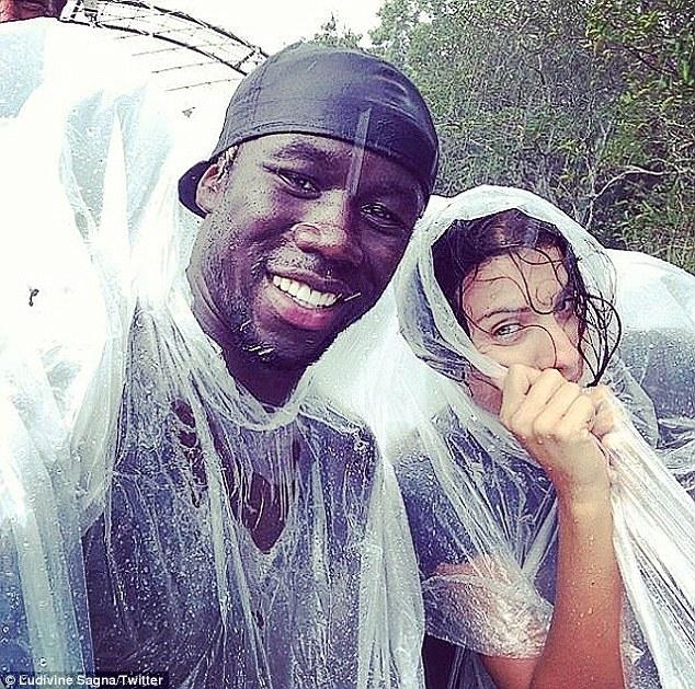 Hike time! 'Hahah look at us under the rain #notsoglamourous hahaha,' Ludivine wrote