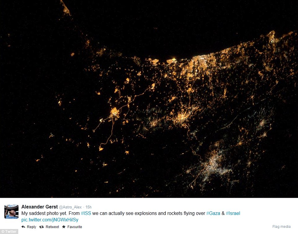 Tel-Aviv is pictured on the centre of the coastline at the top of this image. The city lights of Be'er Shiva can be seen towards the centre left, while the Gaza Strip appears as a darker patch running along the coast to the far left of the photo. Jerusalem is directly below Tel-Aviv as the main patch of lights in the centre of the image. Hebron cam be seen to Jerusalem's left, while the sprawl of lights from Amman are shown at the bottom right