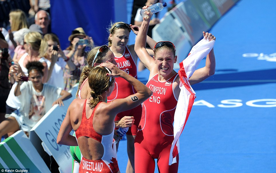 Congratulations: Even Kirsten Sweetland of Canada couldn't help but be proud for the 25-year-old