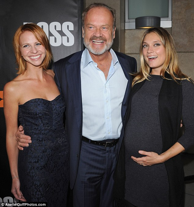 His leading ladies: The father-of-six pictured with Kayte and pregnant oldest daughter Spencer, 30, in Hollywood in October 2011