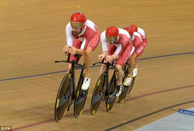 Out in front: Wiggins leads the way but England couldn't cope with Australia's speed in the final