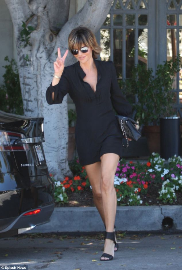 Peace on set: Lisa Rinna was seen on Tuesday shooting scenes for the show in Hollywood, California