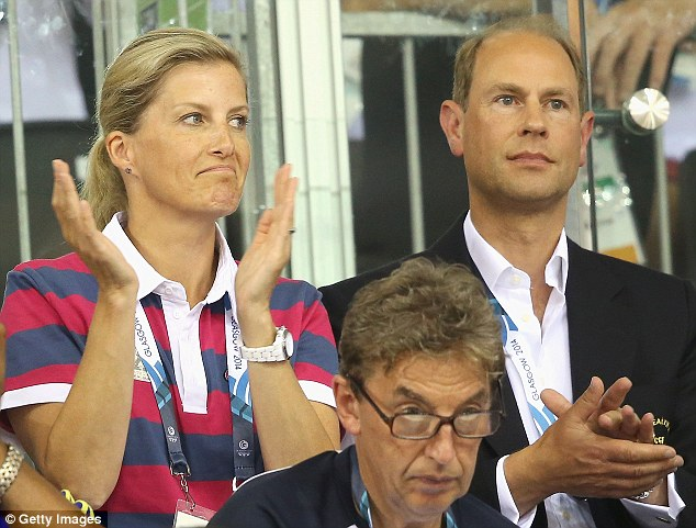 Glum: Sophie, Countess of Wessex and Prince Edward, Earl of Wessex watch the English Men's Team compete in the Team Pursuit at the Chris Hoy Velodrome. She seemed disappointed with the silver obtained by Sir Bradley Wiggins et al