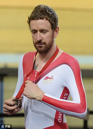England's Sir Bradley Wiggins with his silver medal following the Men's 4000m Team Pursuit Final