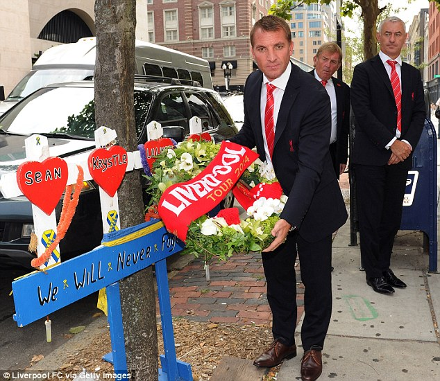Brendan Rodgers lays a wreath on Boylston Street in memory of the Boston bomb victims